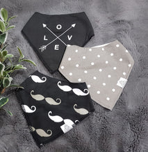 Load image into Gallery viewer, 3pc set Fashionable Baby Organic Bandana Bibs - Arrows, Dots & Moustache