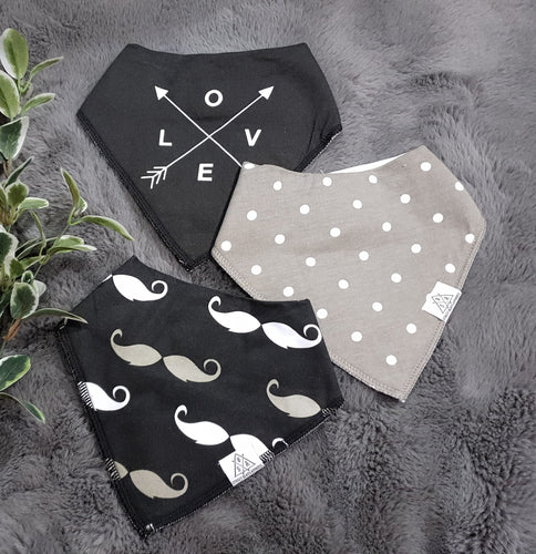3pc set Fashionable Baby Organic Bandana Bibs - Arrows, Dots & Moustache