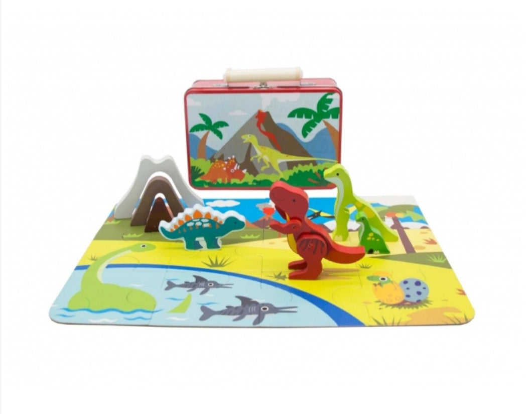 Dinosaur Playset with Puzzle in Tin