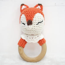 Load image into Gallery viewer, Natural & Handmade Crochet Wooden Rattle Teether Ring - Fox