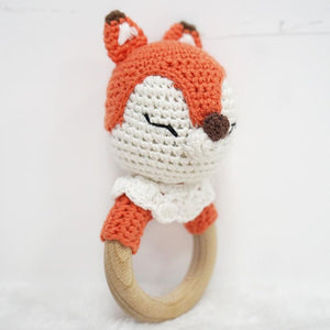 Natural & Handmade Crochet Wooden Rattle Teether Ring - Fox