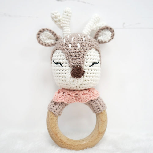 Natural & Handmade Crocheted Wooden Rattle Teether Ring - Deer