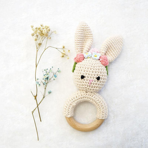 Natural & Handmade Crocheted Wooden Rattle Teether Ring - Crown Bunny