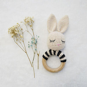 Natural & Handmade Crochet Wooden Rattle Teether Ring - Sleeping Bunny