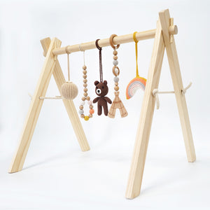 Activity Wooden Baby Play Gym Toys With Handmade Hanging Crochet Bear