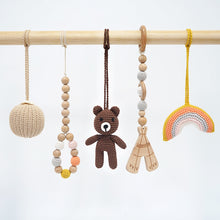 Load image into Gallery viewer, Activity Wooden Baby Play Gym Toys With Handmade Hanging Crochet Bear