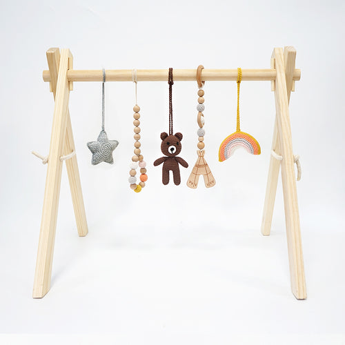 Activity Wooden Baby Play Gym Toys With Handmade Hanging Crochet Bear with star