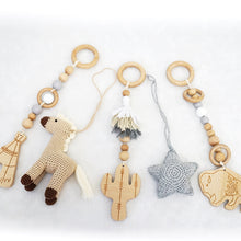 Load image into Gallery viewer, Handmade Hanging Crochet Cowboy Horse Toys Set (wooden frame not included)