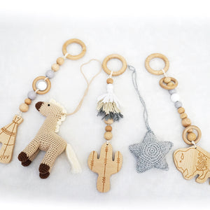 Handmade Hanging Crochet Cowboy Horse Toys Set (wooden frame not included)