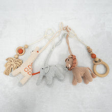 Load image into Gallery viewer, Activity Wooden Play Gym with Handmade Hanging Rattle Crochet Lion Toys Set