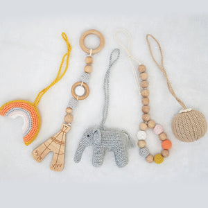 Handmade Hanging Crochet Elephant Toys Set (wooden frame not included)