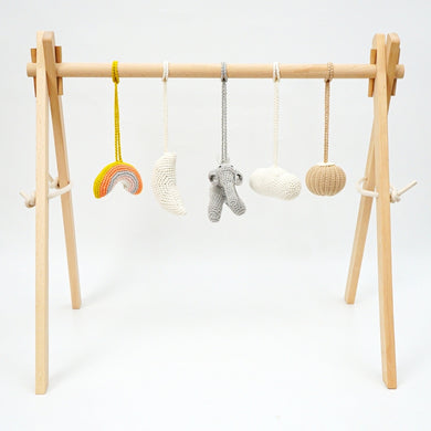 Activity Wooden Baby Play Gym Toys With Handmade Hanging Crochet Elephant