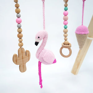 Activity Wood Baby Play Gym Toys With Handmade Hanging Crochet Flamingo