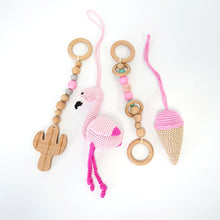 Load image into Gallery viewer, Activity Wood Baby Play Gym Toys With Handmade Hanging Crochet Flamingo