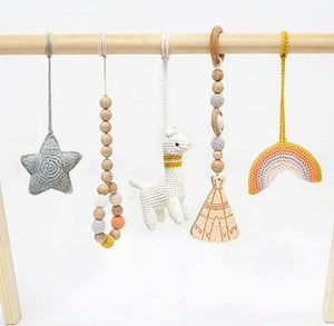 Handmade Hanging Crochet Llama Toys Set (wooden frame not included)