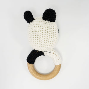 Natural & Handmade Crocheted Wooden Rattle Teether Ring - Panda