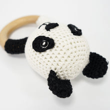 Load image into Gallery viewer, Natural & Handmade Crocheted Wooden Rattle Teether Ring - Panda