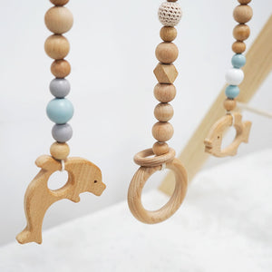 3 pcs/set Hanging Sea Animal Beech Wood Toy with Wooden Crochet Beads for Baby Play Gym, Mobile Crib, Pram