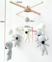 Load image into Gallery viewer, Handmade Eco-friendly Nordic Nursery Wooden Baby Mobile Crib With Hanging Crochet Koala Toys