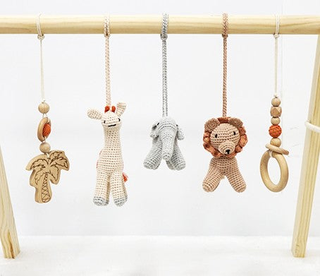 Activity Wooden Play Gym with Handmade Hanging Rattle Crochet Lion Toys Set