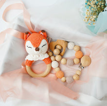 Load image into Gallery viewer, Baby Wooden Rattle Set - Handmade Crochet Fox