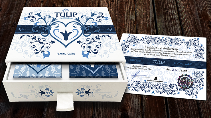 Limited Edition Tulip Playing Cards Set (Dark Blue and Light Blue) by Dutch Card House Company - The Seers Playing Cards