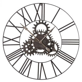 Industrial style metal wall clock with fixed cogs