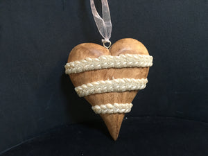Wooden heart embellished with pearls and beads