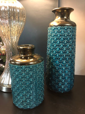 Teal & gold vase - small