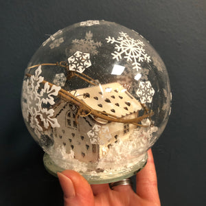 LED glass cloche with winter scene