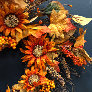 Autumn sunflower and berry wreath