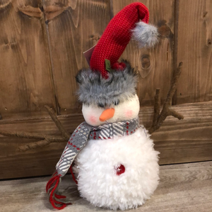 Snowman with red hat and twig arms -small