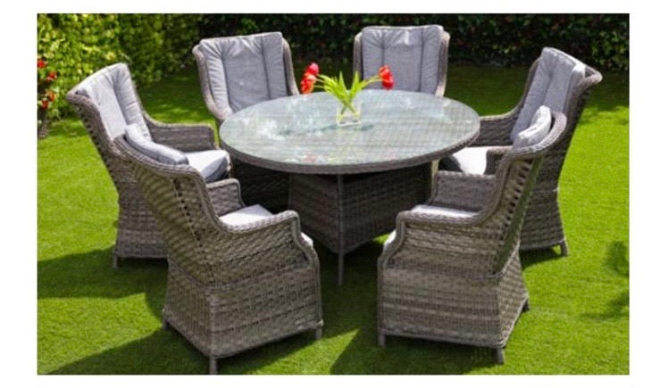 Amalfi 6 seater dining set with round table