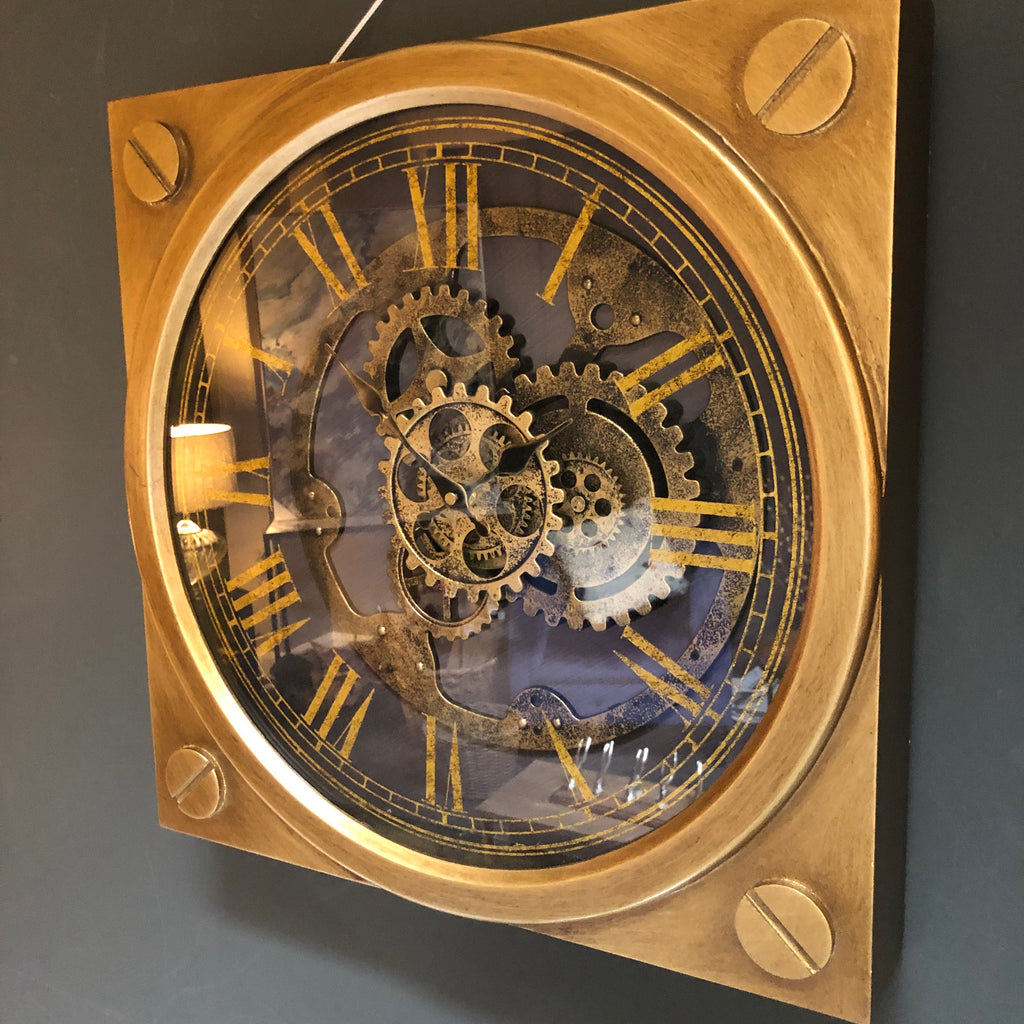 Antique gold square clock with moving cogs
