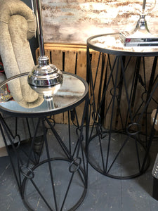 Set of 2 Mirrored top Black tables