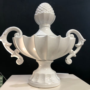 White gloss lidded urn