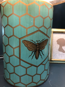 Mint green and gold bee & honeycomb lamp