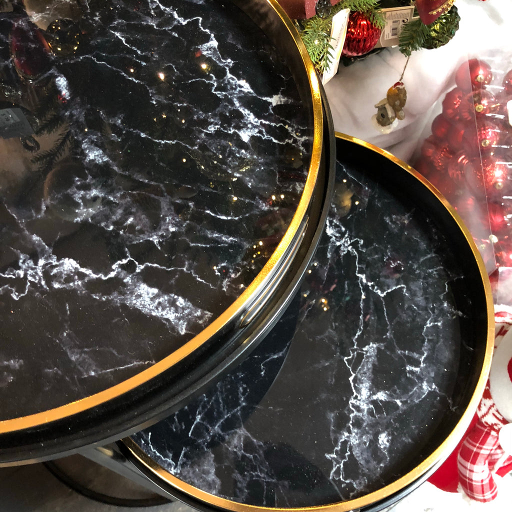 Black & gold marble tray nesting table set