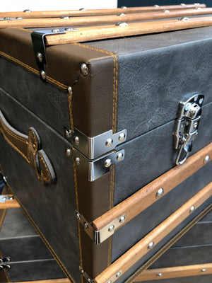 Luxurious Grey Faux Leather Grey Chest/Trunk-small