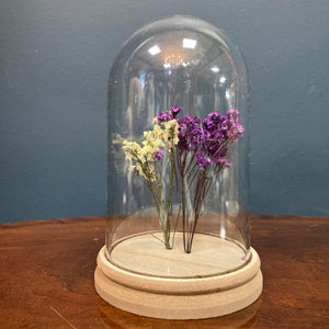 Purple & cream dried flower cloche