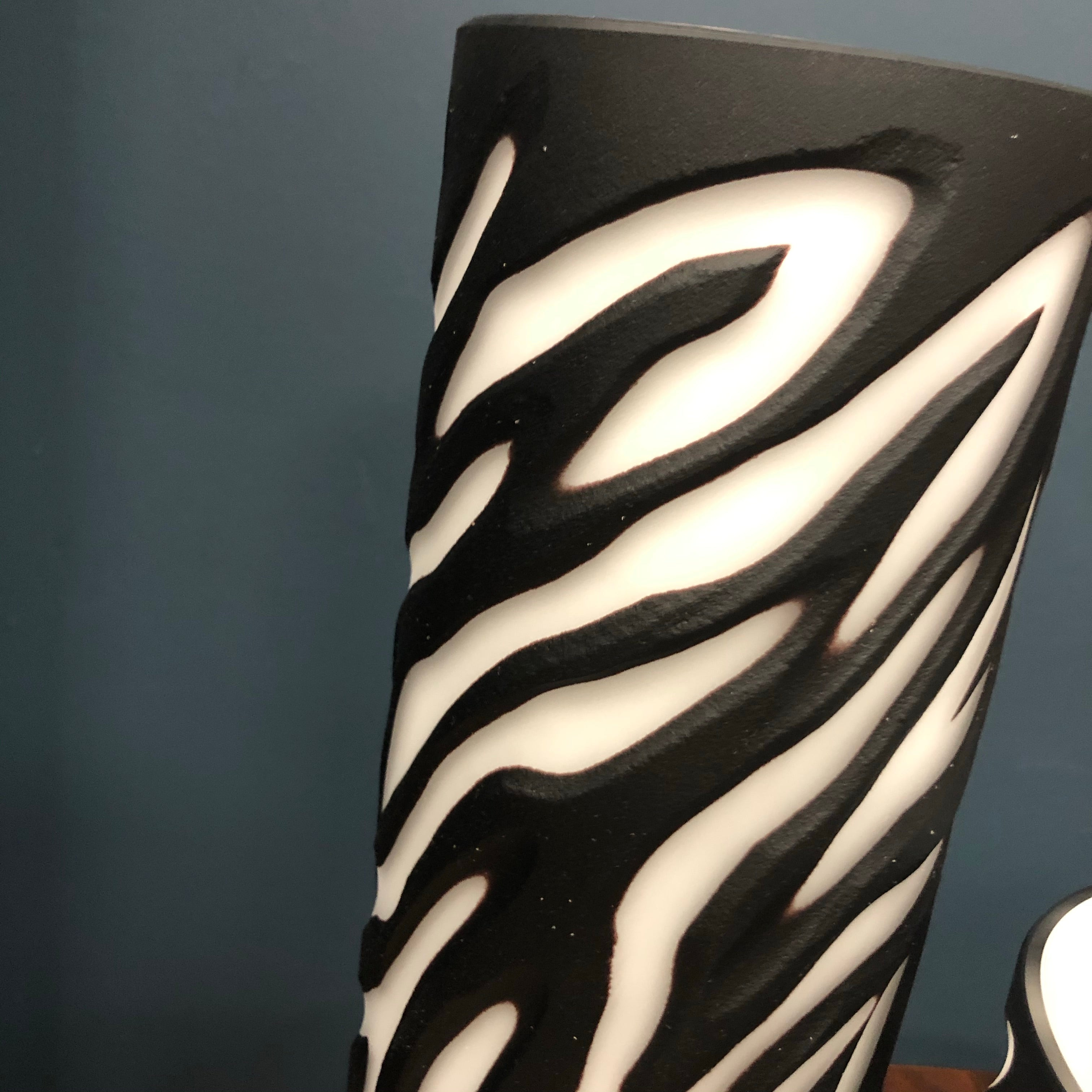 Tall hand blown zebra print vase