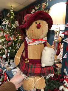 Tall Gingerbread lady in tartan dress and hat
