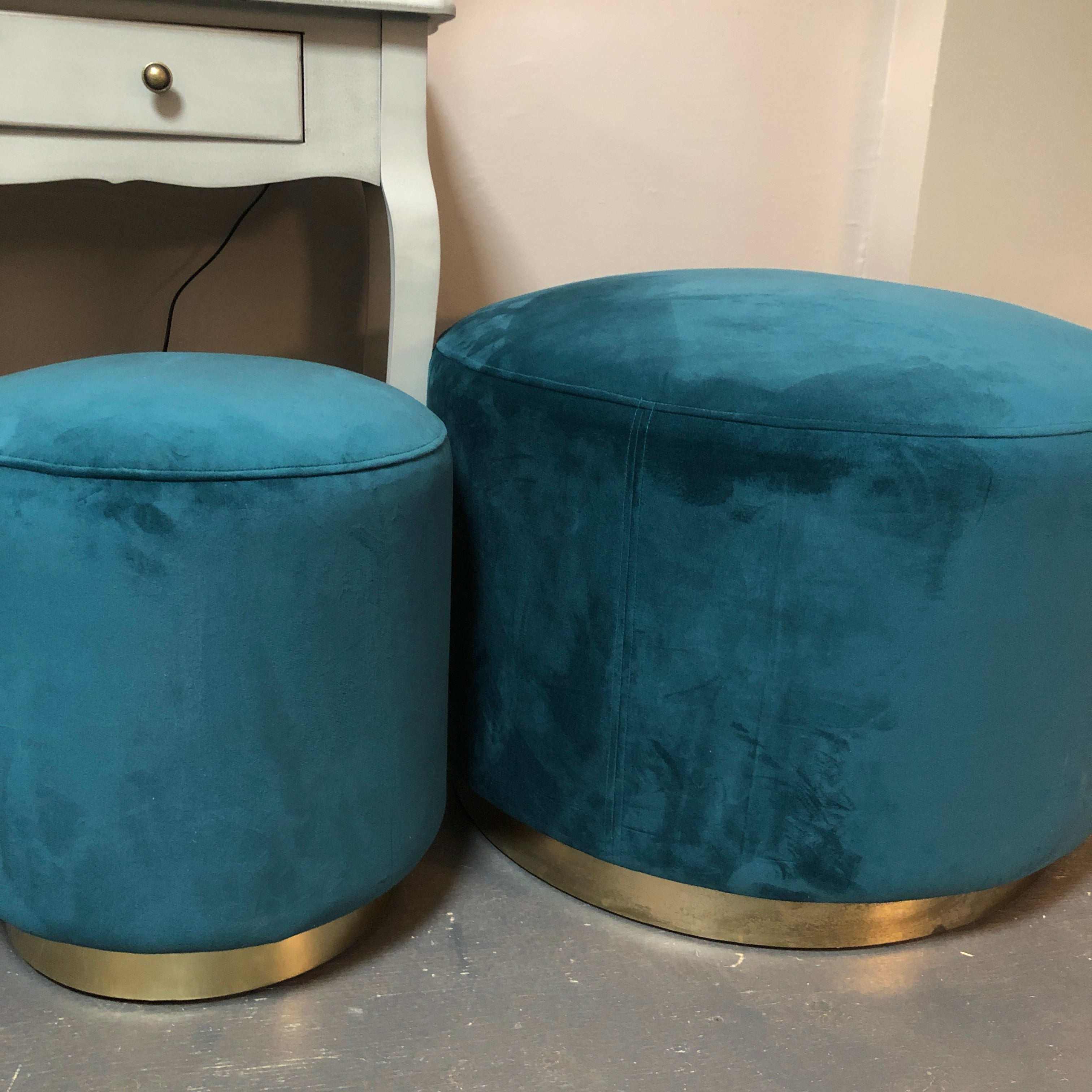 Small round Jade Green/Teal Culinary Concept footstool