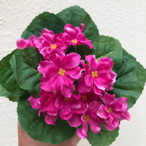 Faux bright pink indoor potted violet plant