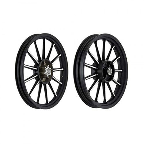 Alloy Wheel 13 Spoke Design Black CNC Double Disk For Royal Enfield Classic 350CC & 500CC Modals