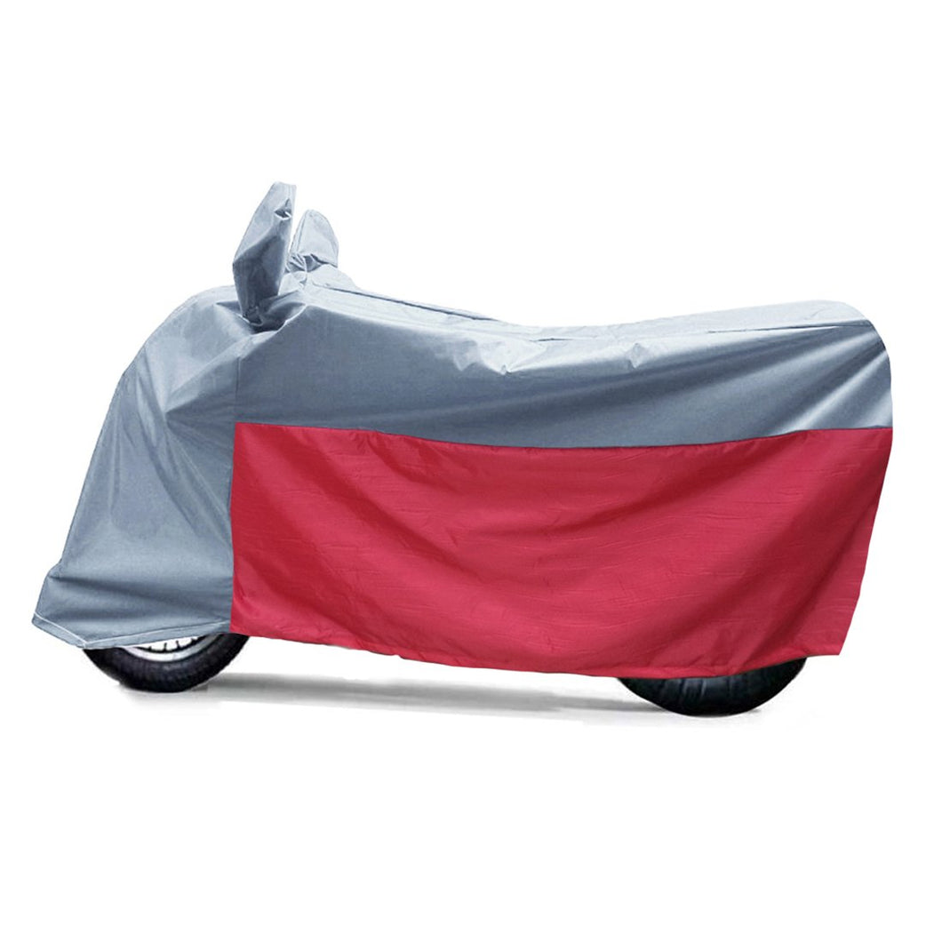 BikeNwear Light Weight Water Proof Body Cover for Yamaha Motorcycle Grey Red