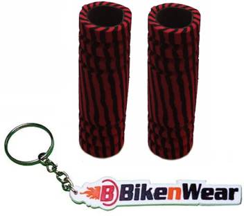 Foam Grip Cover Black And Drak Red Shade With BikeNwear Key Chain