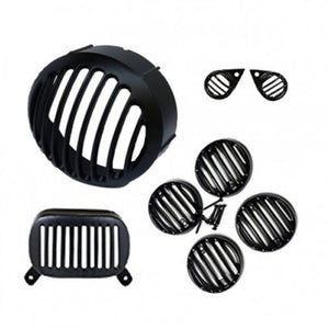 Black Head Tail & Indicator Pilot Light Grill Set For Royal Enfield Motorcycle Electra