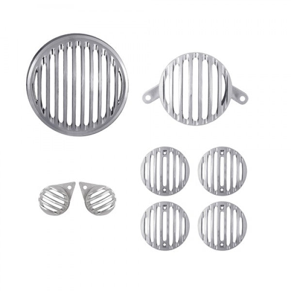 Silver Plastic Head Tail & Indicator Pilot Light Grill Set For Royal Enfield Motorcycle Classic Modal
