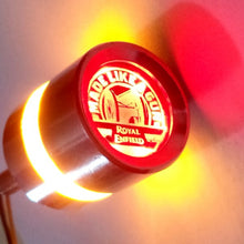 Load image into Gallery viewer, Handle Bar End Weight Made Like A Gun Logo LED Light For Royal Enfield Motorcycle